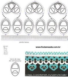 Crochet Tin Rings - Chart - Lots of other bottle top patterns too! Soda Tab Crafts, Can Tab Crafts, Pop Top Crochet, Crochet Designs, Crochet Patterns, Pop Top Crafts, Pop Can Tabs, Soda Tabs, Pop Cans