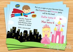 Superhero and Princess Birthday Party Invitation  by eventfulcards, $15.99