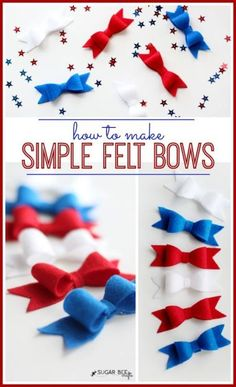 tutorial on how to make Red White Blue Felt Hairbows (add to clips) - Sugar Bee Crafts