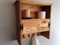 Handmade Reclaimed Pallet Wall Hanging Bathroom Cabinet 4 Hooks Upcycled Wood