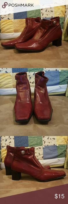 Franco Sarto leather booties Beautiful luxurious deep red Franco Sarto size 6 and a half ladies duties great condition little stuff on the front toes hardly noticeable great soft leather very clean good condition Franco Sarto Shoes Ankle Boots & Booties