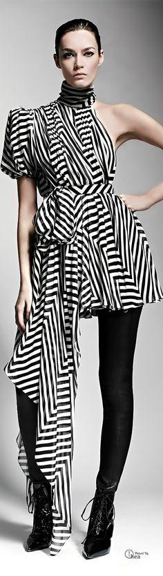 Saint Laurent ● Asymmetric Chevron Dress/Top & Leather Leggings