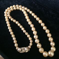"""Antique 18K & Diamonds cultured pearls. Low price limited time Perfection & beauty vintage  18 K white gold diamonds & cultured ocean pearls graduating pearl princess strand necklace 17"""" individually spaced slide in lock safety latch clasp hallmarked 514 rounded perfection luster shine beauties maintained polished slight age may show here higher quality pearls Vintage Jewelry Necklaces"""