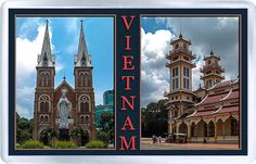 $3.29 - Acrylic Fridge Magnet: Vietnam. Notre-Dame Basilica. Saigon. Tay Ninh Holy See of the Cao Dai. Collage