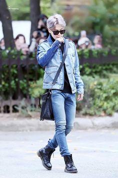 Park Jimin of BTS rocks denim and combat boots.