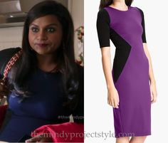 """It looks like Mindy's navy and black colorblock sheath dress from """"Caramel Princess Time"""" also came in purple - but both colorways are sold out! Try this look for less dress instead! Felicity & Coco..."""