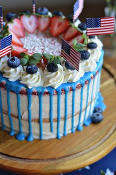 Made by our pal Beth Branch of Bethcakes, this Red, White & Blue Layer Cake is the consummate confection for an Election Night night party. 4th Of July Cake, Fourth Of July Food, July 4th, Extreme Cakes, Birthday Cake For Him, Cookie Decorating, Decorating Cakes, Summer Cakes, Homemade Cake Recipes