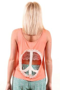 BOHO CHIC! Check out this Judith March Live in Peace Cut Out Tank,now available at www.herringstonesboutique.com