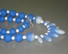 Beaded Bib Strand Necklace Wool Felt Beads & Natural White Mashan Jade, Spring Summer Autumn Fall Winter Fashion Trendy Jewelry Gift idea
