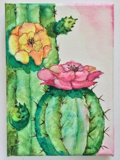 My original botanical watercolor painting of desert cactus in bloom. Perfect for any room in your home. Painted on canvas with Daniel Smith Watercolors. Signed by the artist. DETAILS : - You will receive this original piece of artwork as shown - Image size is 5 x 7 - Signed by the