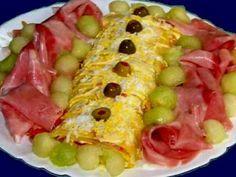 Receta Plato : Bizcocho relleno de jamón, ventresca y salsa de gambas con melón por Javier zgz