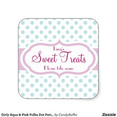 Girly Aqua & Pink Polka Dot Pattern Cute Stickers for parties, wedding,baby showers and Candy Buffet stickers for use on favor bags and favors. // $5.75 per sheet of 20
