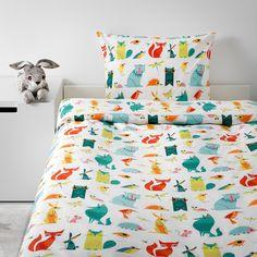 IKEA - LATTJO Duvet cover and pillowcase(s) animal, multicolor Childrens Bed Linen, Kids Bed Linen, Twin Size Duvet Covers, Bed Duvet Covers, Linen Bedding, Bedding Sets, Bed Linens, Cama Ikea, Bedding