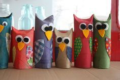 Gonna make these with my girlies to hang from the ceiling in my classroom!  Will for perfectly with Tue woodland animal/camping theme!!!  Toilet paper tube owls...paint, fold down top for ears, decorate
