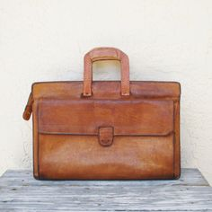 Vintage Hartmann Briefcase / Distressed Leather Briefcase / Soft Side Briefcase / Leather Messenger Bag