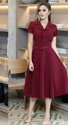 Complete instructions for the midi dress! - # Guide Complete instructions for the midi dress! - # Manual , Guia completo do Vestido Midi! Modest Dresses, Simple Dresses, Pretty Dresses, Beautiful Dresses, Casual Dresses, Short Dresses, Simple Dress Casual, Modest Fashion, Fashion Dresses
