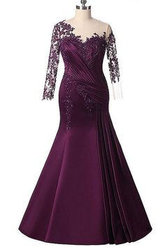 Rose Moda Long Sleeves Purple Mermaid Mother s Dresses Formal Appliques Party Dress Plus Size Beads Evening Gowns 2017 Custom Made Dress Plus Size, Evening Dresses Plus Size, Formal Evening Dresses, Prom Dresses, Dress Formal, Sleeve Dresses, Beaded Evening Gowns, Mermaid Evening Dresses, Vestidos Boutique