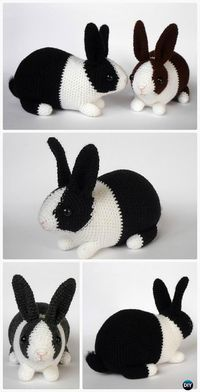 Crochet Amigurumi Dutch Rabbit Toy Pattern by Crochet Amigurumi Bunny Toy Free Patterns Instructions: Crochet Easter Bunnies, Amigurumi Bunny Toys, Stuffed Bunny Animal crochet free pattern Crochet Animal Patterns, Stuffed Animal Patterns, Crochet Patterns Amigurumi, Crochet Dolls, Knitting Patterns, Baby Patterns, Knitting Toys, Sewing Toys, Amigurumi Toys