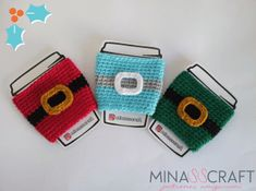 Santa claus manga para termo patrón gratis #cupcozy #coffee #crochet