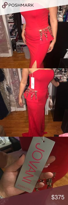 Jovani red long dress Brand new with tags jovani dress with slit on the side. Shawl is included. Dress has a train that is just beautiful. Stretchy material! Price negotiable Jovani Dresses Strapless