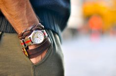 Leather bracelets and watch