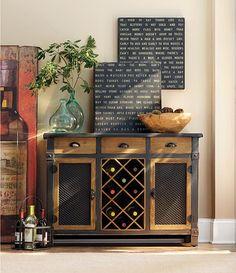 Dolcetto Wine Cabinet// Love the 2 tone colors