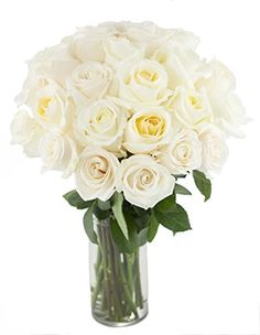 Bouquet of Long Stemmed White Roses (Two Dozen) - The KaBloom Collection Flowers With Vase - http://yourflowers.us/bouquet-of-long-stemmed-white-roses-two-dozen-the-kabloom-collection-flowers-with-vase/