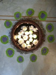 Rangoli, Floating Candles in a mud pot filled with water & flowers