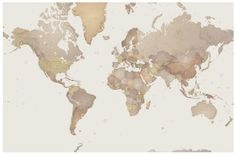 World Map Mural (P111501-0) - Mr Perswall Wallpapers - A photo mural of a giant size sepia toned map of the world.  Total mural size 405 cm wide and 265cm high.