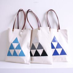 Tote bag - leather triangles. $55.00, via Etsy.