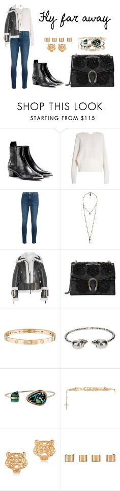 """""""Fly far away"""" by anaelle2 ❤ liked on Polyvore featuring Yves Saint Laurent, Carl Kapp, Frame, Love Heals, Burberry, Gucci, Cartier, Alexander McQueen, Givenchy and Kenzo"""