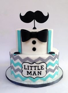 Little Man /Moustache Baby Shower Cake