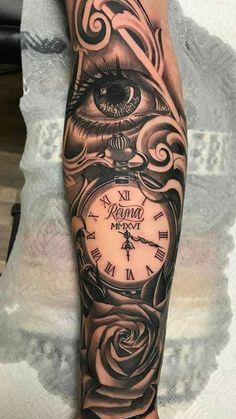 traditional tattoo sleeve - Brenda O. - traditional tattoo sleeve tattoos – Brenda O. Forarm Tattoos, Rose Tattoos, Body Art Tattoos, Hand Tattoos, Tatoos, Best Sleeve Tattoos, Tattoo Sleeve Designs, Clock Tattoo Sleeve, Sleeve Tattoos For Men