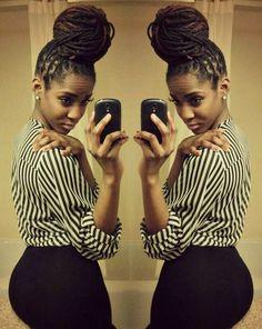 waiting for my hair to be this long so I can wear this style Dreadlocks, Sisterlocks, Braids, and More at DreadStop. Natural Hair Tips, Natural Hair Journey, Natural Hair Styles, Dreads, Coiffure Hair, Dreadlock Styles, Dreadlock Hairstyles, Braided Hairstyles, Jackson