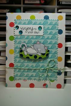 "Zoey and the furballs | Cat & innertube summer card using Newton's Nook Designs ""Newton's Summer Vacation"" cat stamp"