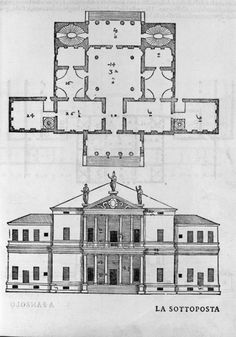 Villa Cornaro by Palladio - 1553 plan and elevation - the status of the patron (a Venetian nobleman) emphasised by the projecting double frontal portico