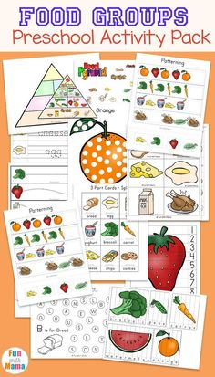 Food Groups Preschool Activities, Chart and food pyramid printables for kindergarten kids