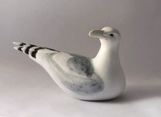 Stoneware Turned Sea Gull Sculpture, medium size