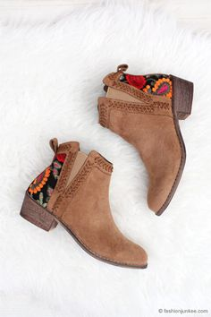 Faux Suede Floral Embroidered Booties with Low Heel-Camel Brown_ even with the stretch material, these are the deal! Ankle Strap Heels, Ankle Straps, Ankle Booties, Bootie Boots, Shoe Boots, Women's Shoes, Brown Booties, Shoes Sneakers, Fall Booties