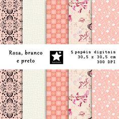 Papel scrapbook digital - rosa