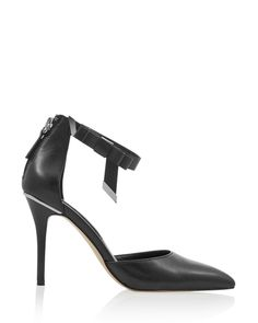 Womens Leather Two-Piece Bow Black Heel from White House | Black Market on Catalog Spree