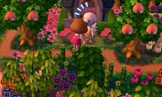 White and Green Floral Wall - Camping Animal Crossing 3ds, Animal Crossing Villagers, Ac New Leaf, Happy Home Designer, All About Animals, Animal Games, Floral Wall, Leaves, Island