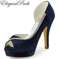 ElegantPark Women s Evening Party Peep Toe Platform High Heel Pleated Satin  Wedding Bridal Shoes Navy Blue US 6 2a2fbcf91cb1