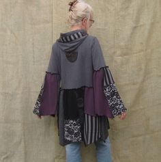 Upcycled Long Hoodie, Flare Bottom and Sleeves, Piecework, Size Large. $65.00, via Etsy.