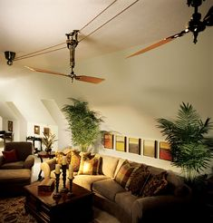 I would love an old fashioned belt ceiling fan - I even invision one where the belt runs through a hole in the wall to the next room!