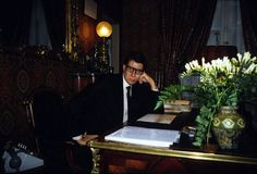 Yves Saint Laurent: Yves Saint Laurent in his office in Paris in 1982.