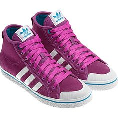 Women's Honey Stripes Mid Shoes, Vivid Pink / Turquoise / Running White, pdp