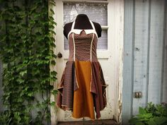 Med. Halter Bohemian Brown Dress// Upcycled Summer by emmevielle