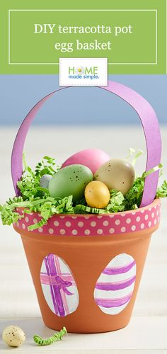 Terracotta pot craft for spring. Clay pots are great for organizing, gardening and crafting. Learn how to decorate terracotta pots with washi tape and scrapbook paper for a DIY egg basket or spring centerpiece. Egg Basket, Easter Baskets, Diy Craft Projects, Diy Crafts, Craft Ideas, Easter Crafts, Easter Decor, Clay Pot Crafts, Adult Crafts