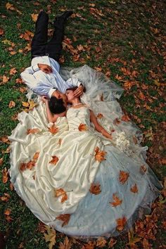 Breathtaking fall wedding photo